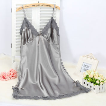 elegant sexy women's spaghetti strap solid sleeveless silk nightgowns with lace free shipping 2016 summer style Mini nighties