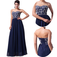 CLASSIC Long Navy Blue Evening Gown Bridesmaid Dress Prom Formal Party Ball Gown