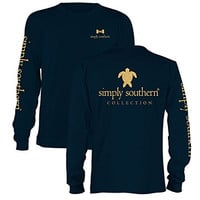Simply Southern Preppy Gold Turtle Long Sleeve Navy T-Shirt