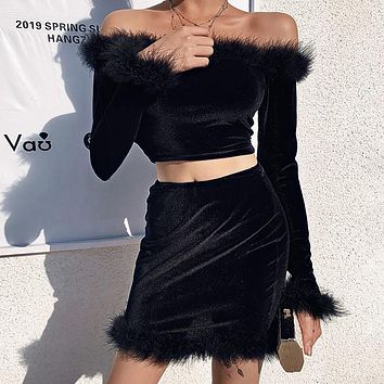 Hot Sale Women's Velvet Cotton Sexy Wild Fur Sleeve Top Dress Short Two Piece Set