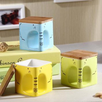 KEYAMA Square Ceramic Elephant Mugs