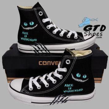 DCCKGQ8 hand painted converse hi alice in wonderland cheshire cat handpainted shoes