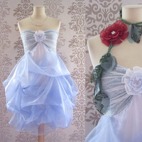 VIVIENNE Floral Lace Romantic Powder Blue Short Strapless Dress Custom Size