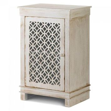 Distressed White Cabinet with Circle Pattern Cutouts