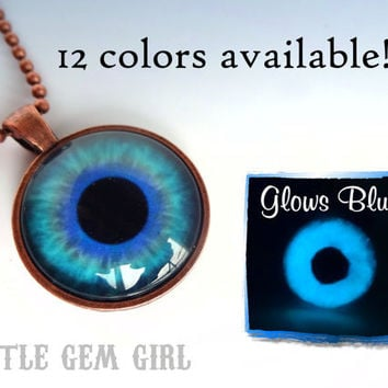 Glow in the Dark Eye Necklace Third Eye Pendant - Glass - 12 Colors Available - Realistic Human Eyeball  Cat Eye Steampunk Gothic