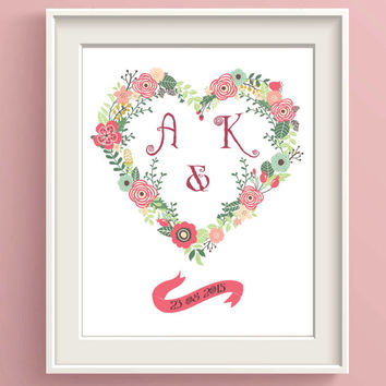 Personalized Wedding Print ~ Monogram Print ~ Anniversary Gift for her, Custom Wedding Gift Mr and Mrs Wedding Decor, Engagement gifts her