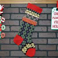 Argyle Christmas Stocking Hand Knit in Rouge Red, Fair Isle Knit Stocking with Pink Ivy and Yellow Snowflakes, can be personalized