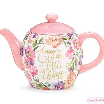"Floral Inspirations Teapot and Mugs ""Enjoy the Little Things"""