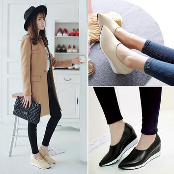 Elegant New Comfortable Causal Summer Korean Shoes Pointed Toe Wedge Platform Casual Leather Stylish Loafer Shoes [6050208257]