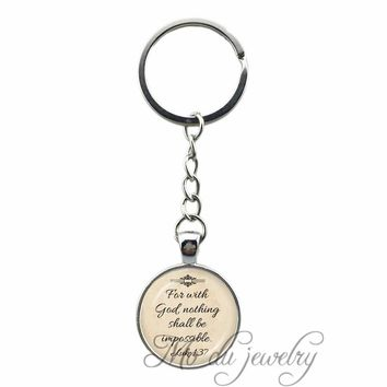 2018 New Arrived Faith Keychain Christian Jesus Glass Pendant Fan With God Nothing is Impossible Letter Key Ring Word Key Chains
