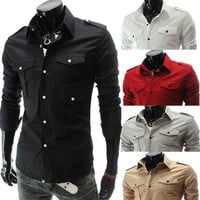 With Pocket Men Luxury Slim Casual Long Sleeve Shirt [6541452803]