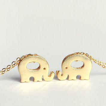 elephant necklace - delicate gold jewelry - gift for her under 20