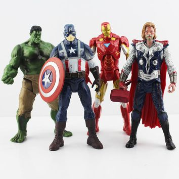 The Avengers pvc action figure doll Hulk Thor Iron man Captain America joints can move toy 4pcs/lot free shipping