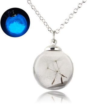 Glow In The Dark Necklaces Wish Glass Bottle Bague Luminous Statement Necklaces Dandelion Seed Glowing Jewelry Best Friends Gift