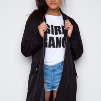 Fired Up Oversized Bomber Jacket - Black