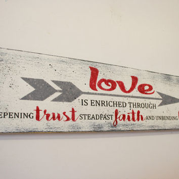 Love Is Enriched Through Trust Faith Hope Wood Sign Inspirational Wall Art Wedding Gift Anniversary Gift Shabby Chic Decor Farmhouse Chic