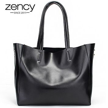 Zency Fashion Women Real Genuine Leather Casual Women Handbag Large Shoulder Bags Elegant Ladies Tote Satchel Purse Bolsa 2017