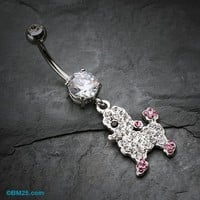 Adorable Poodle Tiffany Inspired Belly Button Ring