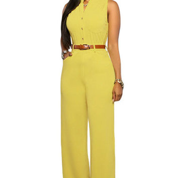 Long Pants Women Sleeveless Romper  w/ belt