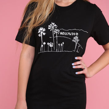 Hollywood, California Black Graphic Unisex Tee