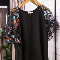 Floral Embroidered Sleeve Top, Black