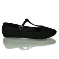 Laura Black By City Classified, Dress Mary-Jane Adjustable T-Strap Round Toe Ballet Flat
