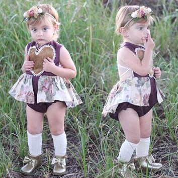 Love Heart Floral Lace Romper Infant Baby Girl Bodysuit Sunsuit Outfits US Stock