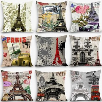 2017 home decorative throw pillow Paris Eiffel Tower Print Home Decorative Cushion Vintage Cotton Linen Square pillowcase MYJ-G4