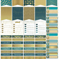 November Teal and Gold Printable Planner 68 Stickers Sheet 2 of Kit in PDF and jpeg Erin Condren Life Planner Kikkik Filofax