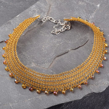 Choker Necklace, Adjustable Wire Crochet Mustard Necklace with Venetian Beads