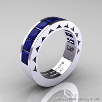 Mens Modern 14K White Gold Princess Blue Sapphire Channel Cluster Sun Wedding Ring R274-14WGBS