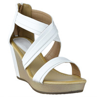 Womens Platform Sandals Cross Strap Two Tone High Wedge Shoes White