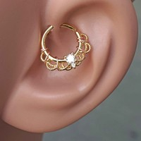 Gold Daith Hoop Ring Rook Hoop Cartilage Helix
