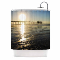 "Nick Nareshni ""Sun Over Scripps Pier"" Tan Brown Shower Curtain"