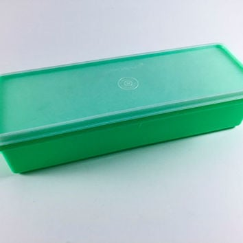 Vintage Tupperware Green Bread Box Celery Crisper Plastic Kitchen Storage With Lid