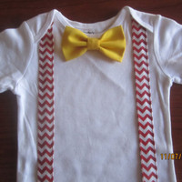 Boy red white chevron suspender outfit, Boy bow tie bodysuit, Baby red bow tie Onesuit, boy gray bow tie Onesuit, boy suspender bow tie outfit