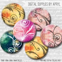 Ornate Swirl Digital Collage Sheet 18mm 16mm 14mm 12mm Circle Round on both 4x6 and 8.5x11 Sheets for Earrings Pendants Cuff Links Image