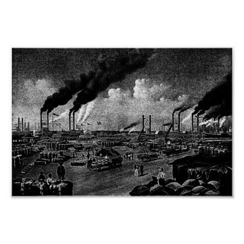 New Orleans Levee Boats Seascape Ink Art Poster