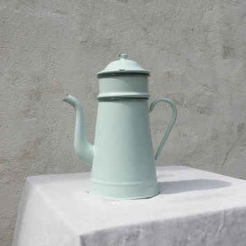 French vintage enamel coffeepot / vintage enamelware / duck egg blue enamel coffeepot / shabby chic / cottage chic / country home. coffeepot