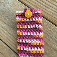 Crochet iPhone Phone Case, Multicolored Phone Case, Smartphone Cover, cell phone case, cell phone cover, ipod case, buttoned case