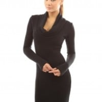 Fashion V Neck Long Sleeve Solid Color Bodycon Dress - NOVASHE.com