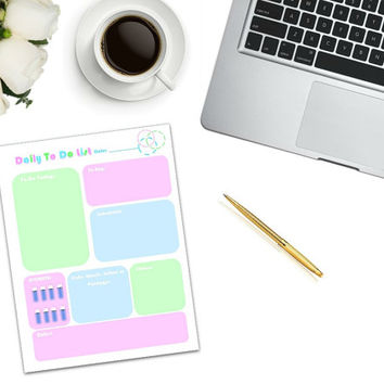 Daily To Do List/Checklist Pastels Printable | PDF | printable to do list | shopping list | daily checklist | work tool | work organizer