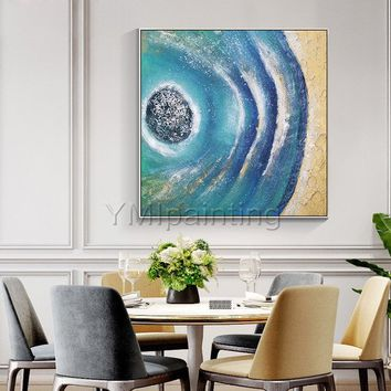 Modern abstract Acrylic painting on canvas original Gold art seascape painting heavy texture large Wall Art wall pictures cuadros abstracto