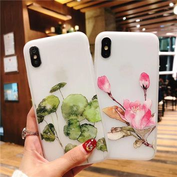 3D Retro orchid Relief Lotus Flower Phone Case