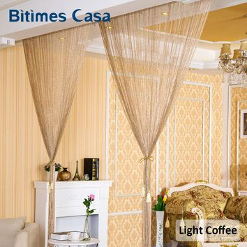 Vogue Fashion Silver Tinsel Tassel String Line Curtain With Glitter Sequins Shinny Door Curtain Valance Solid Color 100*200CM