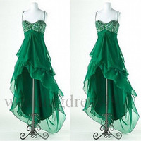 Custom Hi Low Beaded Green Prom Dresses Bridesmaid Dresses 2014 Fashion Evening Gowns Formal Party Dress Cocktail Dress Evening Dresses