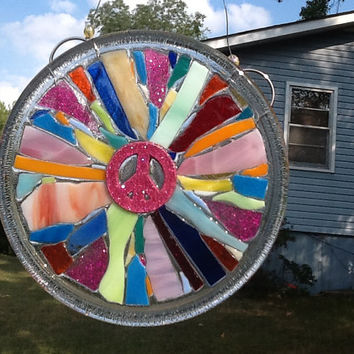 Stained Glass Peace Sign Window Art Sun Catcher , Pink Peace Sign, Unique Gift Idea, Secret Sister Gift, Home decor, Handmade, Hippie Gift