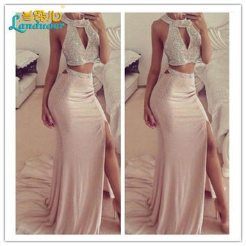 Long Mermaid Prom Dresses 2016 Beading Chiffon 2 Pieces O-neck Prom Gown Sleeveless Floor Length Rhinestones Party Evening Dress