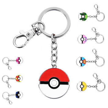 Fashion Pocket Monster Charm Keychains Keyrings For Men Women Key Chain Jewelry Pokemon Pokeball Key Rings Holder Gift 2017