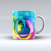 The Rainbow Dyed Rose V1 ink-Fuzed Ceramic Coffee Mug
